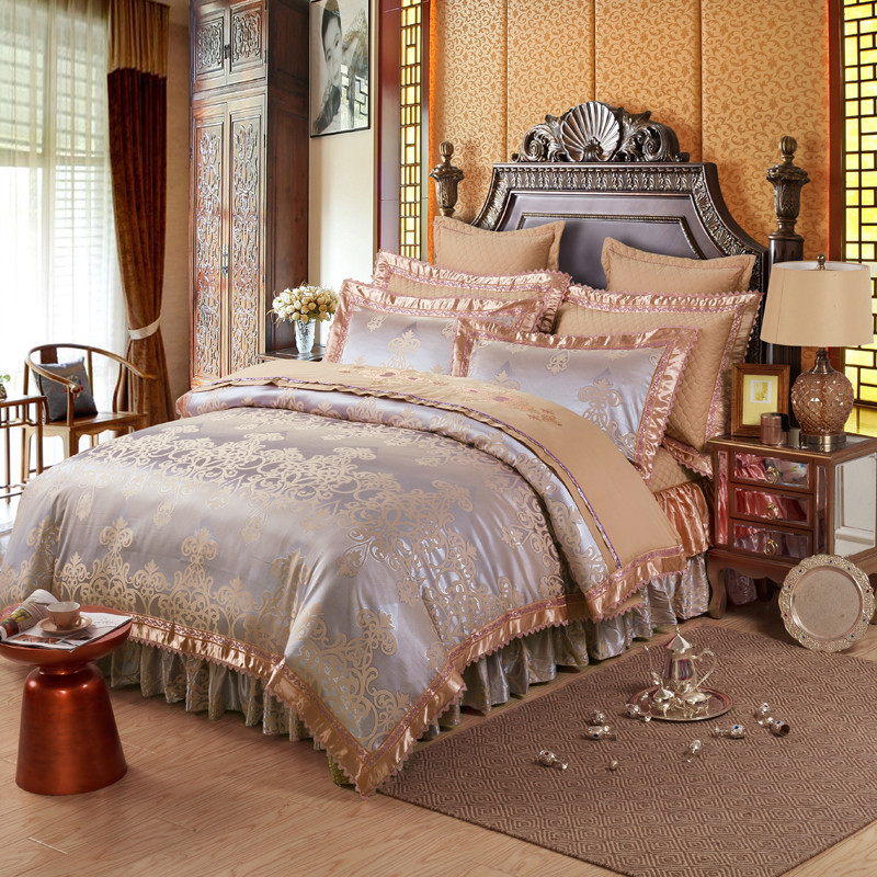 好眠好梦 欧式刺绣花夹棉床笠式床罩床裙四件套
