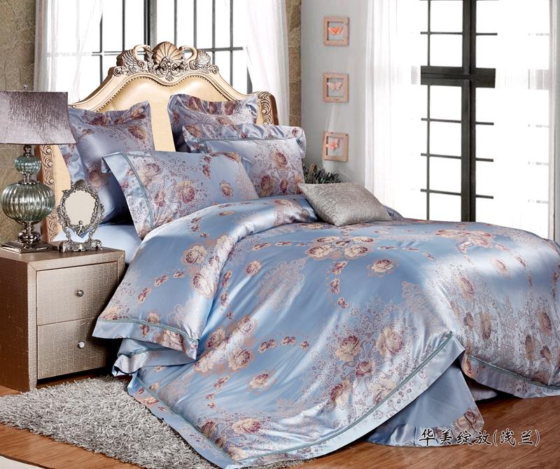 2017新品欧式样板房蝉丝三色位欧式床单床盖四件套六件套