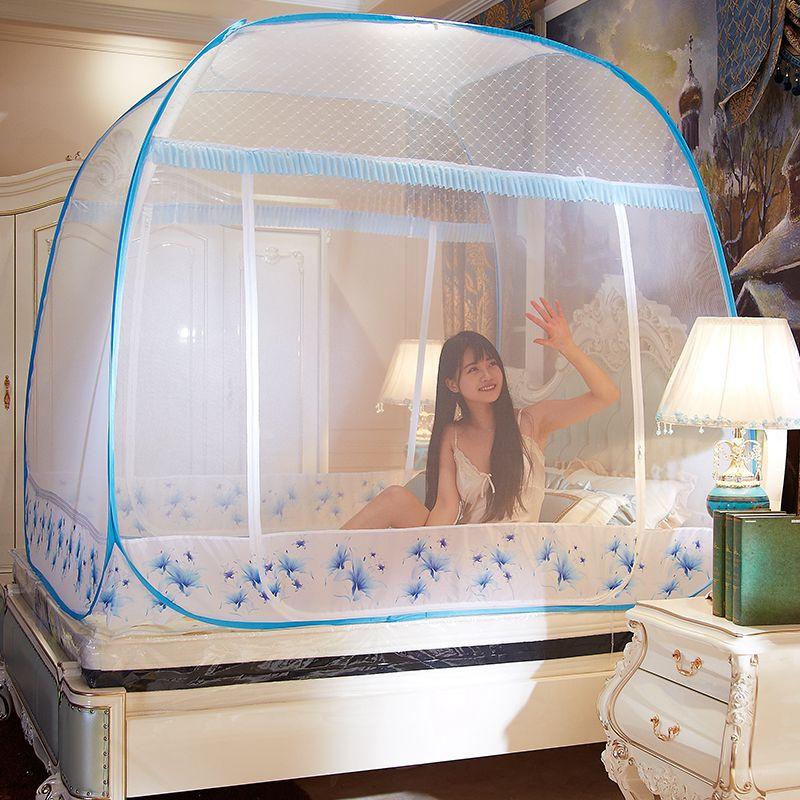 免安装蒙古包蚊帐免安装三开门1.2米床拉链1.5/1.8m床双人家用