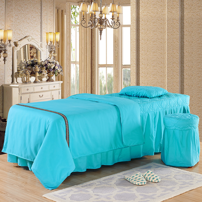 韩式纯色柔肤棉美容床罩四件套批发美容院专用SPA按摩床定做