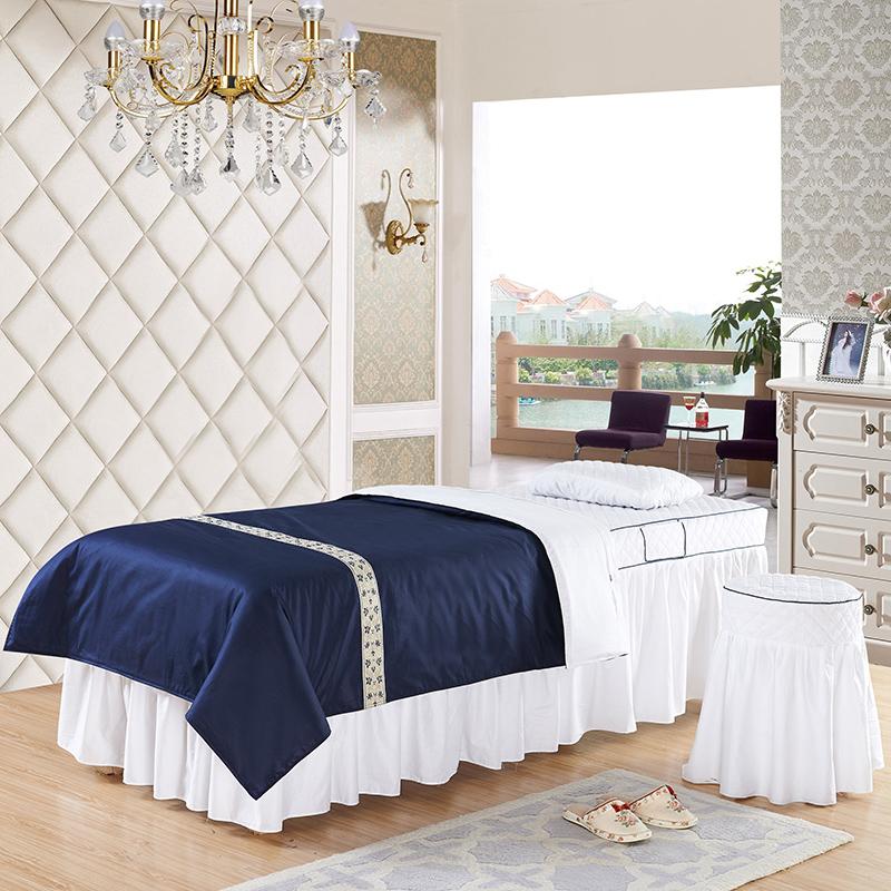 美容床罩四件套纯棉100%全棉美容院专用纯色床罩SPA按摩理疗床床罩定做