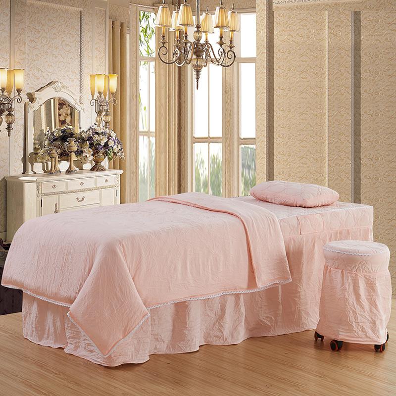 水洗棉美容床罩四件套按摩熏蒸SPA床罩美容院方头圆头简约床套