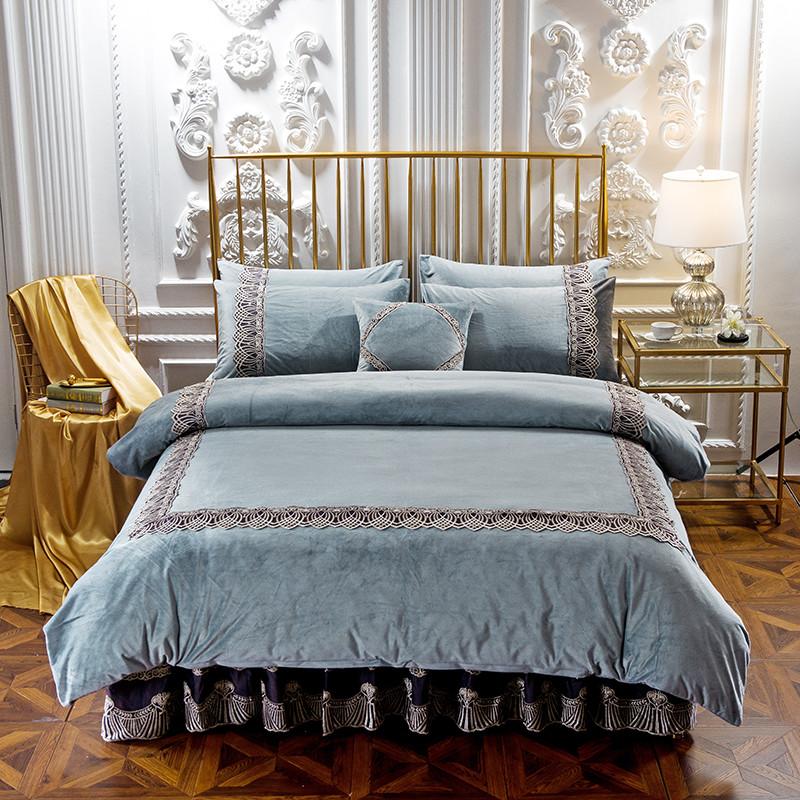 欧式床裙式水晶绒四件套夹棉款床单1.8m床上法莱绒被套法兰绒