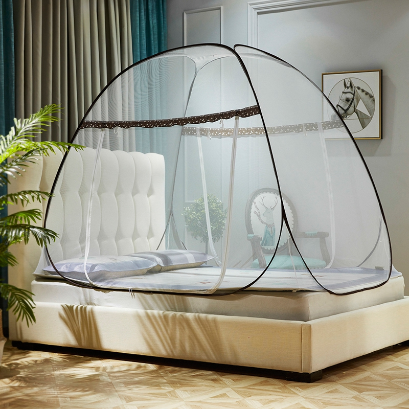 蒙古包加密蚊帐免安装加高钢丝折叠圆顶坐床式拉链U型双门不生锈