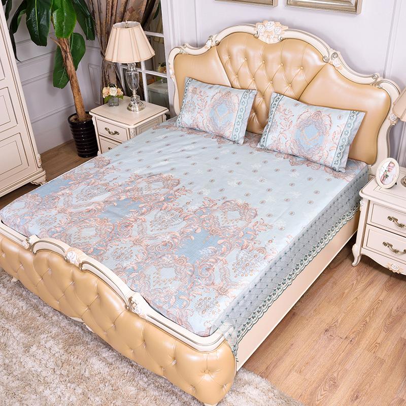 (总)提花蕾丝床包床笠 可水洗冰丝席三件套-盛世宫廷