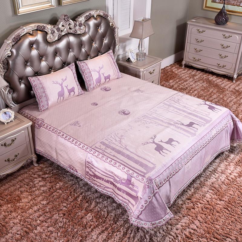新款凉席 蕾丝床裙加床笠 可水洗床单冰丝席三件套-幸运之鹿-玉