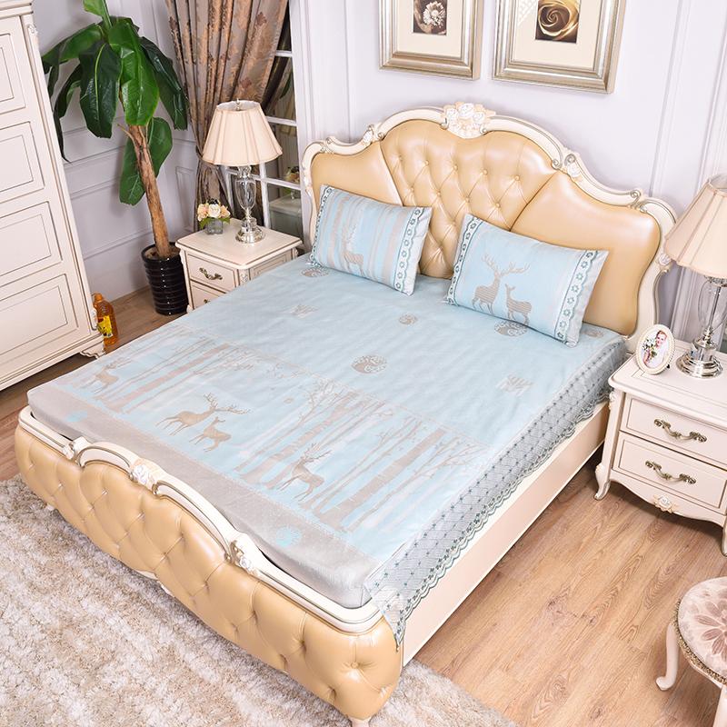 (总)提花蕾丝床包床笠 可水洗冰丝席三件套-鹿特丹-兰