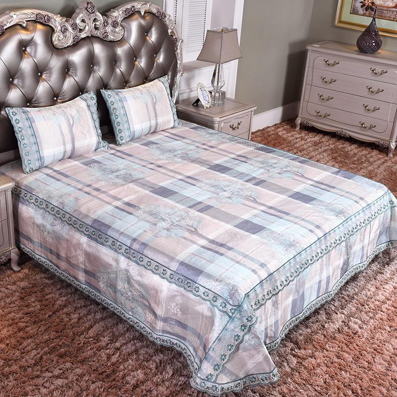 新款凉席 蕾丝床裙加床笠 可水洗床单冰丝席三件套-布拉格