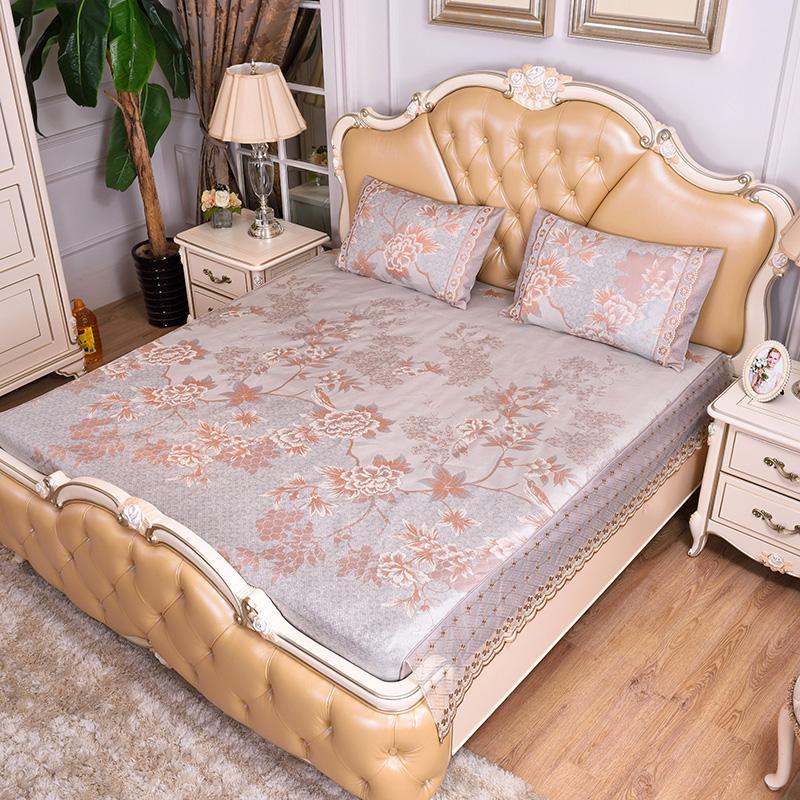 提花蕾丝床包床笠 可水洗冰丝席三件套-梦幻花境