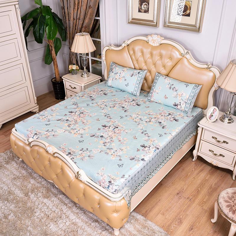 提花蕾丝床包床笠 可水洗冰丝席三件套-锦玉花开