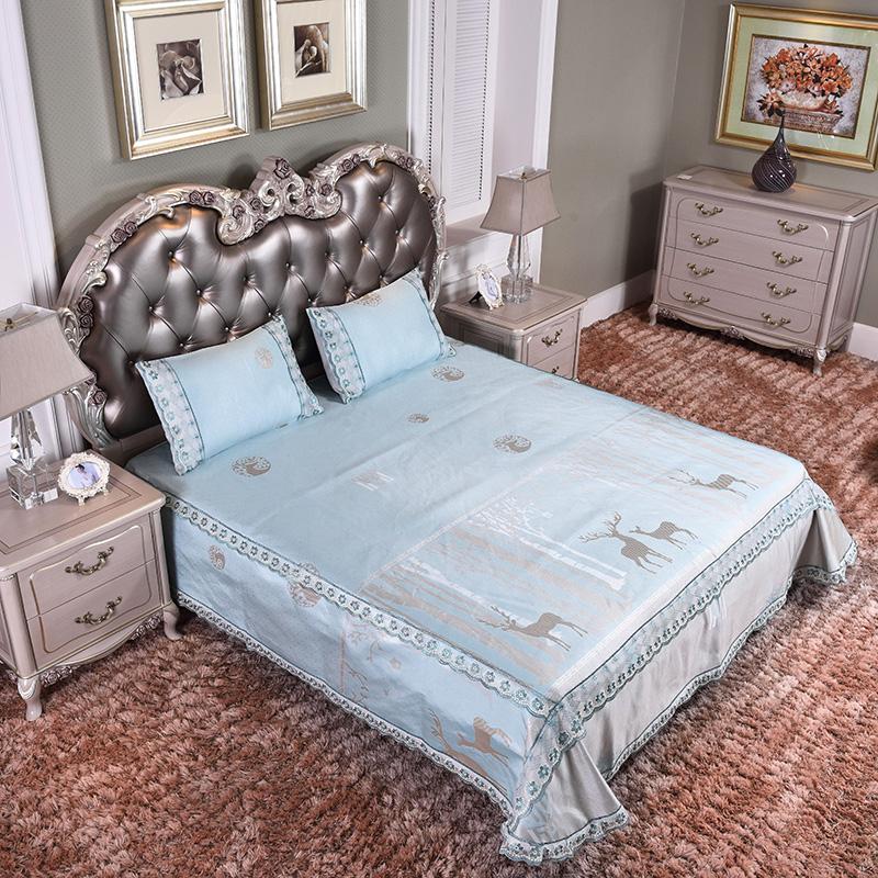 新款凉席 蕾丝床裙加床笠 可水洗床单冰丝席三件套-幸运之鹿-兰