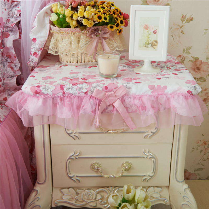【赞美家纺】韩式床品配套床头柜罩-樱花粉