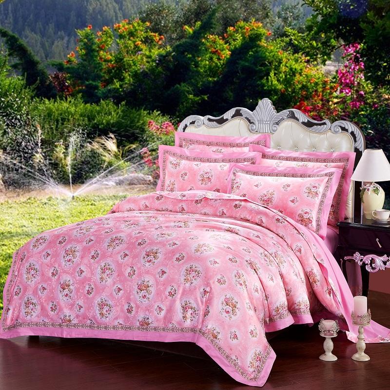 逍遥岛·家纺 欧式美小碎花提花转移印花四件套-俏丽-粉