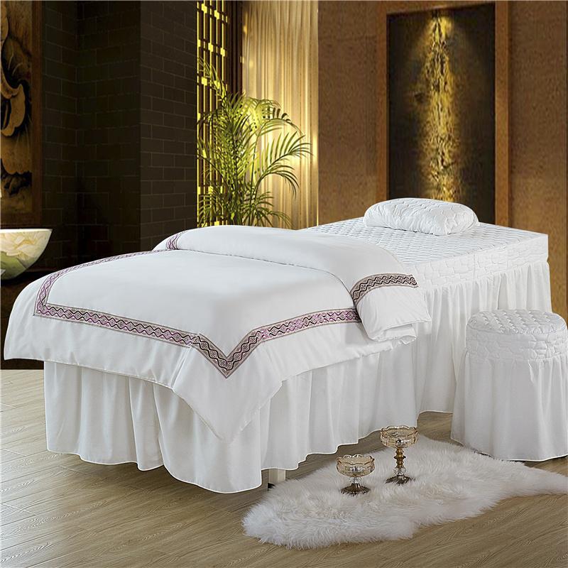 乐逸家纺 欧式花边美容床罩四件套 米驼