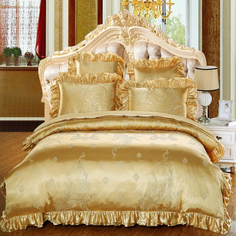 欧式床单夹棉床盖婚庆四件套六件套 繁花似锦