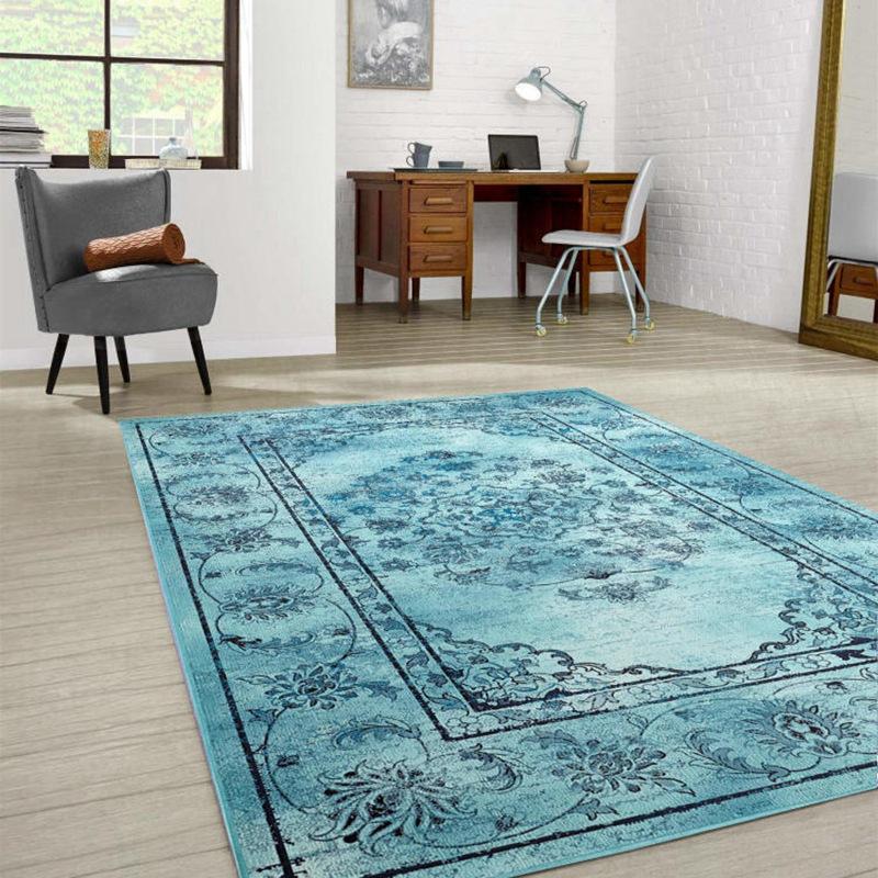 欧式印花地毯客厅门垫地毯 卧室满铺长方形床边毯家用