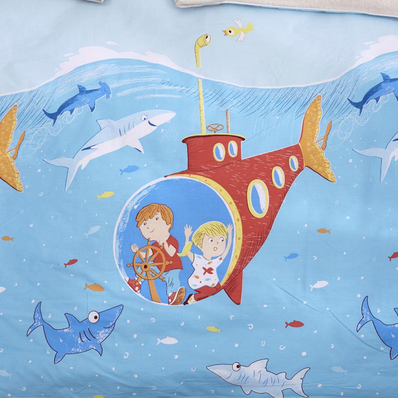 萌朵婴童家纺 2018新款 儿童天然彩棉防踢被 海底探险图片