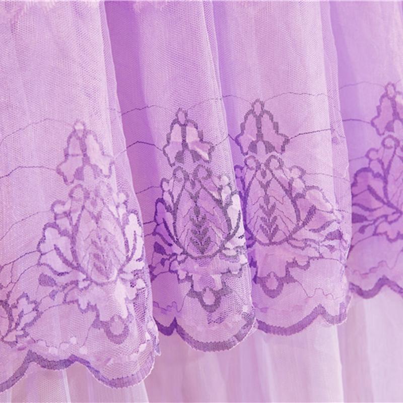博诺家纺 2018新款 欧式公主风吊顶通用蚊帐 美好时光圆顶-紫色